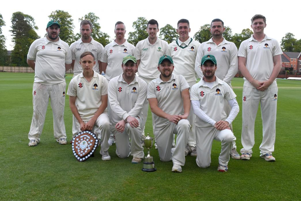 CUP WINNERS: The successful Haughton CC side which won the A Division cup, with man-of-the-match Jack Riley kneeling left .Picture: Brian Dobinson