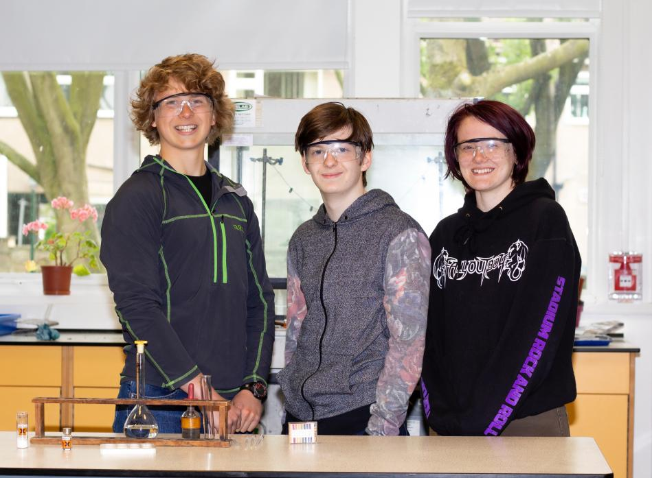 SUPER STUDENTS: Sam Arundel, Holly Hughes and Ethan Rawlins excelled at the North East Royal Society of Chemistry's young analysts competition