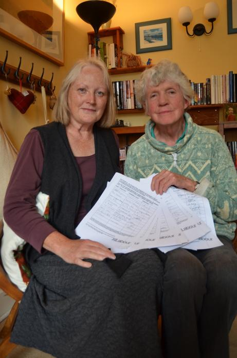 TOWN PROTEST: Teesdale Labour Party members Ros Evans and Jane Hackworth-Young with the petition against shutting an out-of-hours clinic at the Richardson Hospital