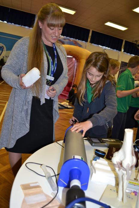 MEDICAL EQUIPMENT: Stephanie Connelly shows eager pupils some of the equipment found in a doctor's surgery