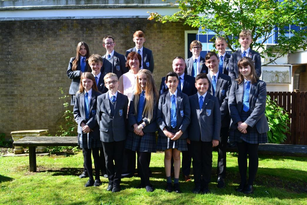 TOP OF THE CLASS: Executive head Dr Janice Gorlach and head teacher Neil Williams with pupils from Teesdale Academy and Sixth Form.