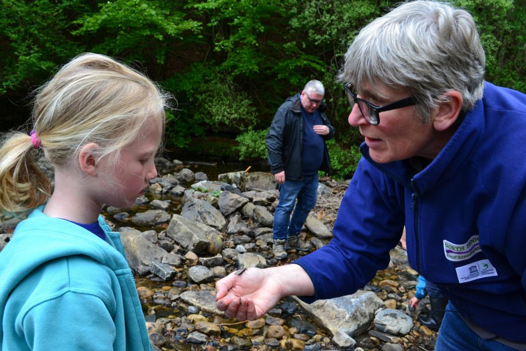 OUTDOOR ADVENTURES: Mandy Oliver shows Alice Jones a modern day resident of Bowlees Beck during the most recent Wild Wednesday session