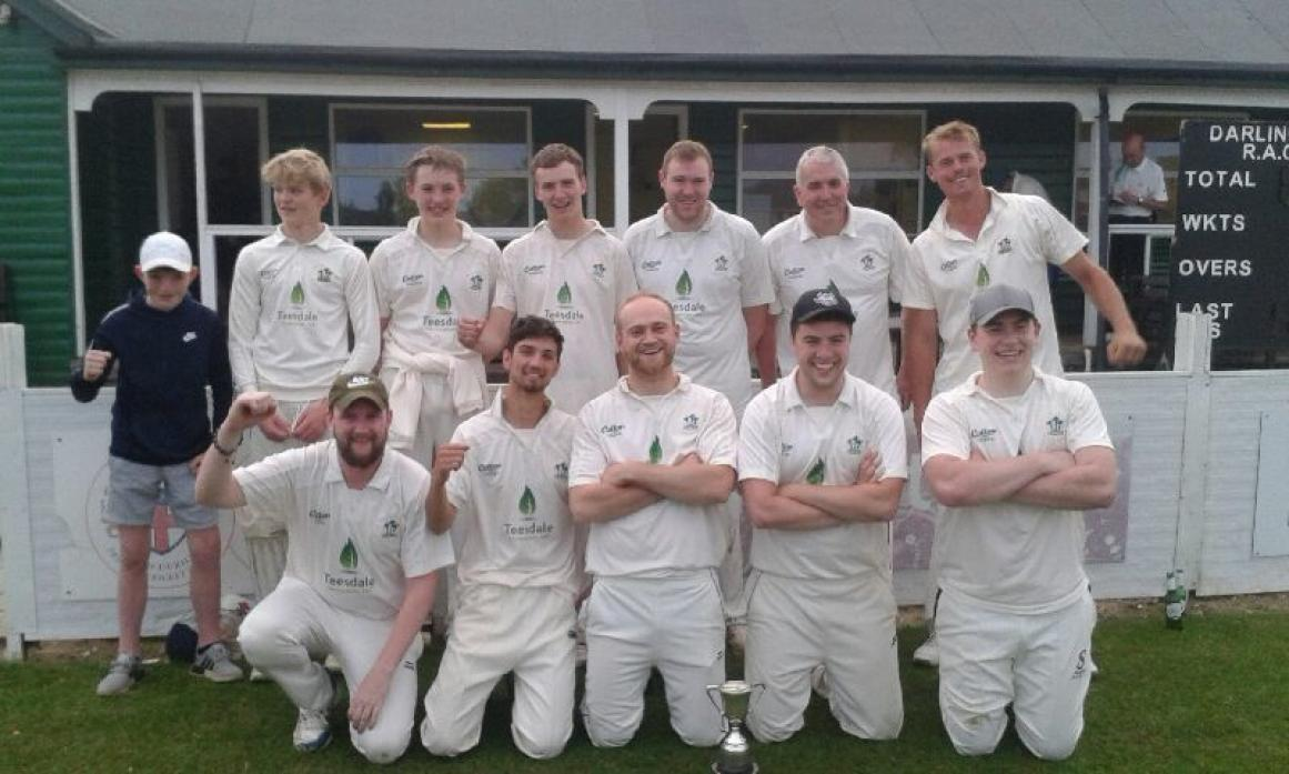 SWEET VICTORY: Top, twelth man Kai North, Oscar Usher, Oliver Welsby, Jon Lucas, Graham Hutchinson, Gary Waller, Lee Jopling, bottom,  Jamie Byers (captain), Kamron Ibberson, Tom Dent, Sam Bell and George Welsby
