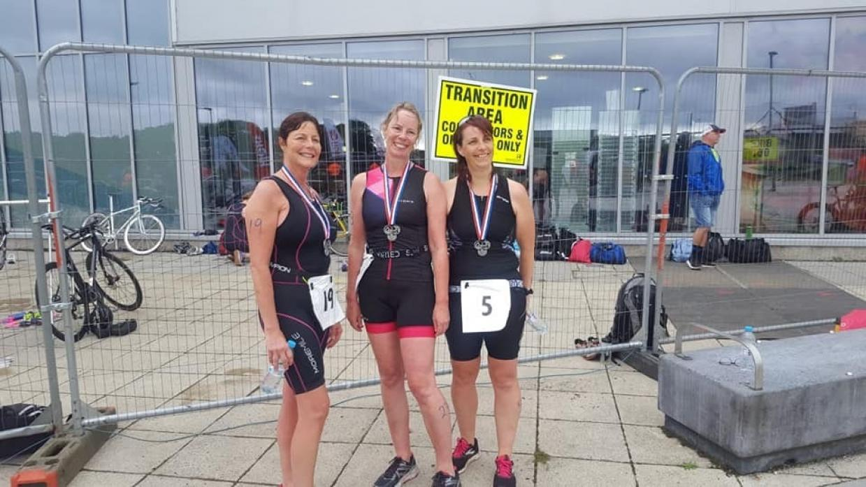 PERSONAL BESTS: Trudy Layton, Mandy Harrison and Clare McGrath took on the Washington Triathlon