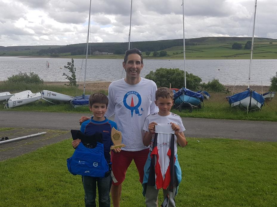 PLAIN SAILING: Max Yeowart and Toby Waggett with Dave Shilling of Derwent reservoir