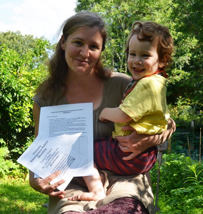 CALL FOR ACTION: Mum-of-three, Harriet Sams, with her two-year-old son Calouen, has organised a public meeting to talk about the issue of climate emergency