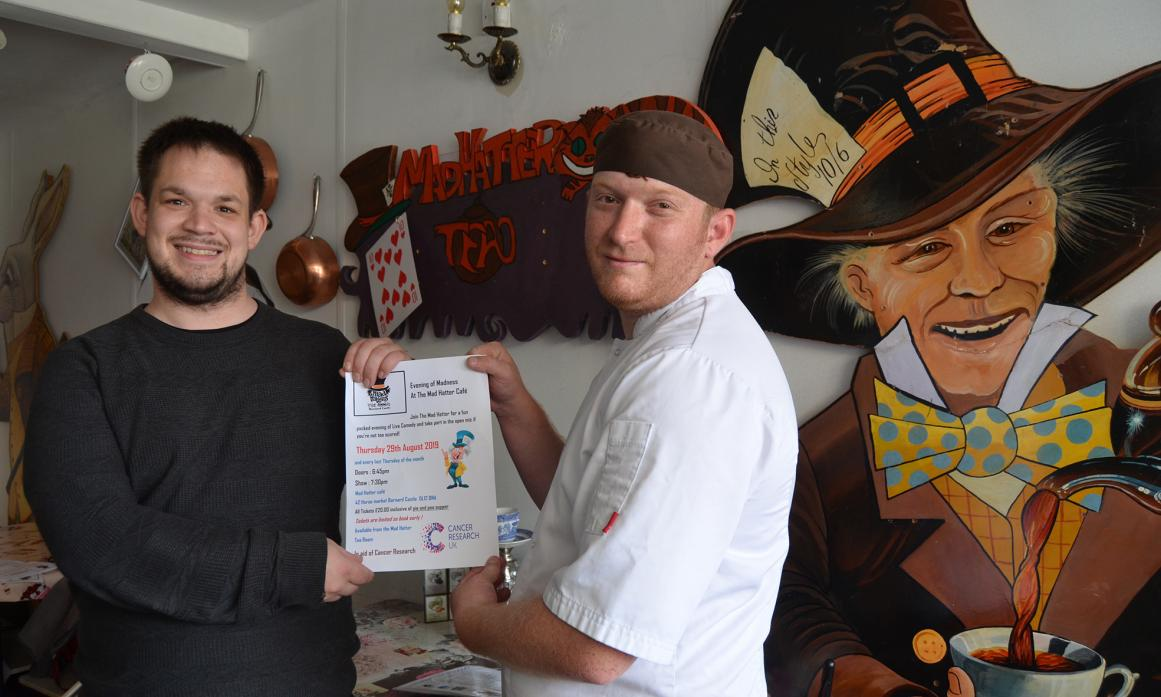 ALL SMILES: Edward Freeman with Adam Anderson, chef owners of the Mad Hatter's Tea Room, in Barnard Castle, which will host a comedy evening in aid of Cancer Research UK