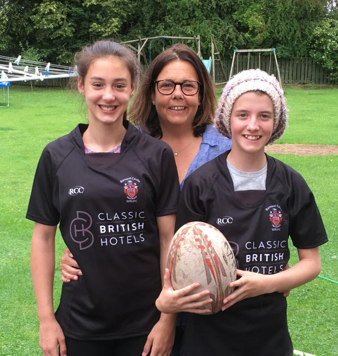 READY FOR ACTION: Gatorz players Mia Dowson and  Tabitha Anstey with Rachel Howes of kit sponsors Classic British Hotels