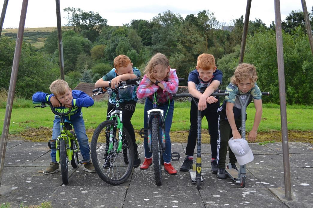 'I'M BORED!': Oliver Massey, ten, Zac Lee, 9, Sarah Lowther, 9, Masson Lee, 8, and Alfie Massey, ten, want a play park for the children of Butterknowle