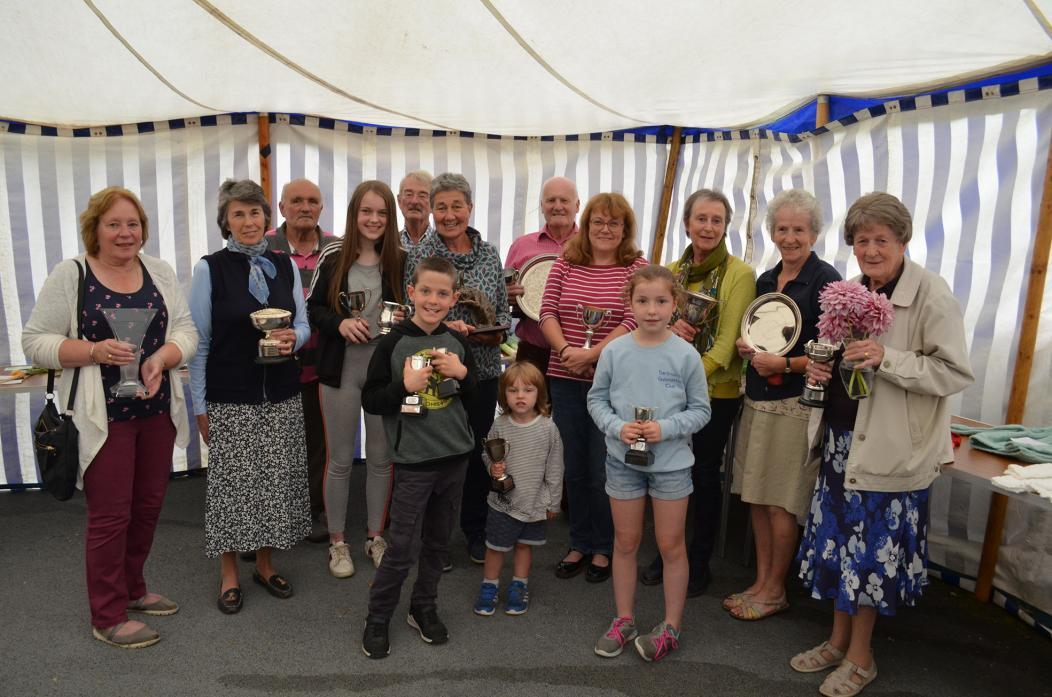 ALL SMILES: Show president Lady Belinda Milbank, second left, with fellow trophy winners at the Barningham Flower and Produce Show