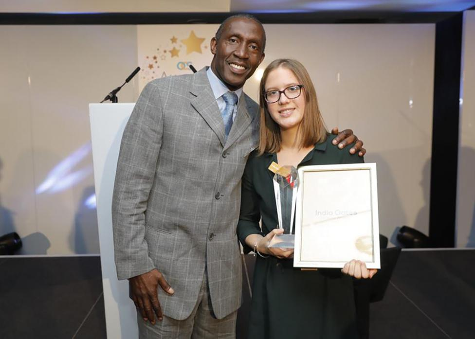 SPECIAL AWARD: India Oates with Linford Christie at the ceremony