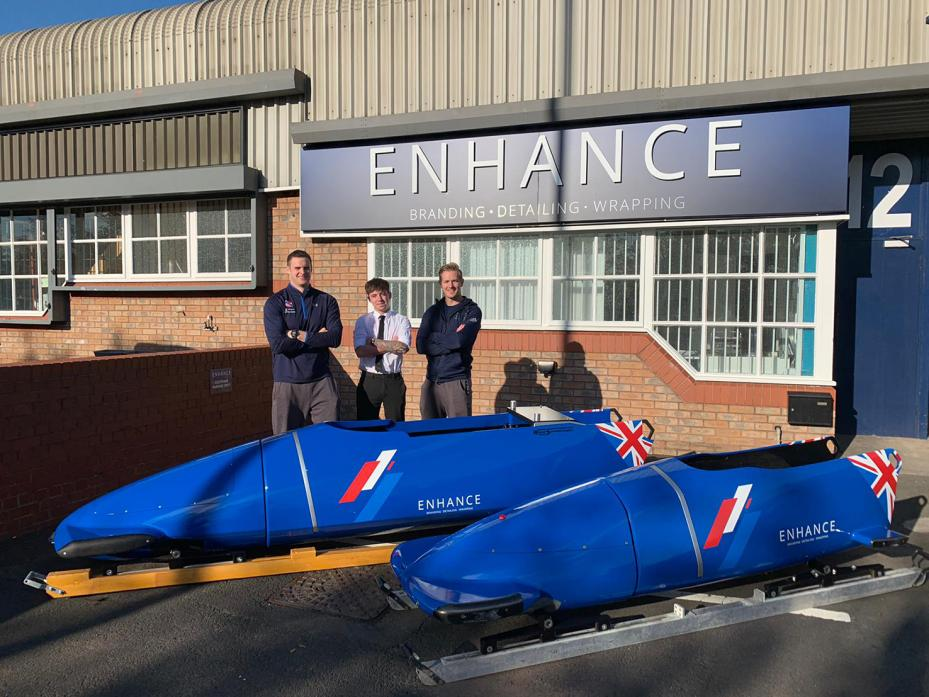 ON THE WAY: Alan Toward, left, and Brad Hall, right, take delivery of the GB bobsleigh squad's new two and four-man sleds