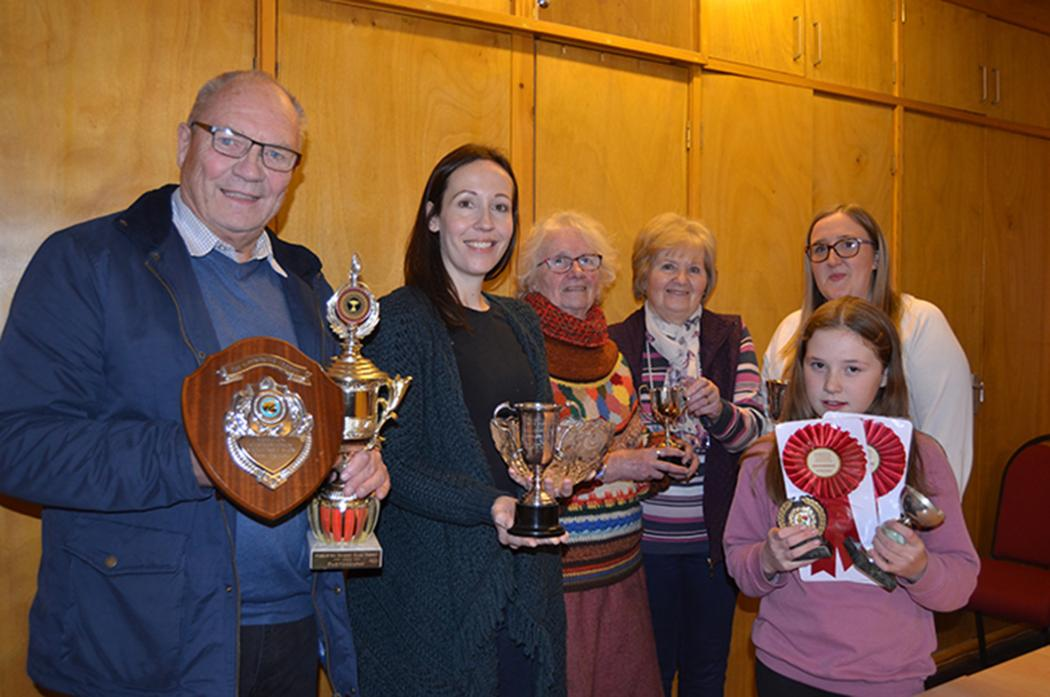 COMING UP ROSES: Cup winners Michael Wallbank, Grace Crawford, Anna Johnson, June Dent, Rebecca Collinson and Lily McBain									  				     TM pic
