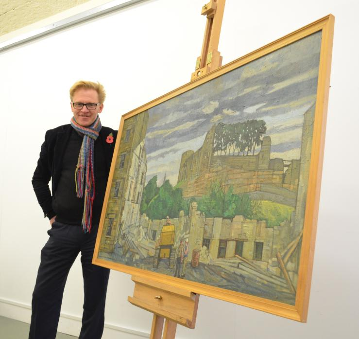 FUNDRAISING EFFORT: Matthew Read, a member of the Pittuck Group, with the picture donated by Douglas Pittuck's family. It will be auctioned to help raise the £15,000 needed to restore the Pittuck Mural,