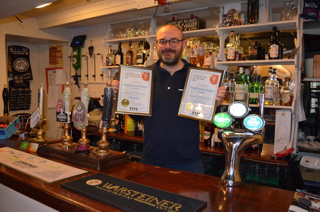 AWARD WINNER: Anthony Goldstraw, landlord of The Strathmore Arms in Holwick, is delighted with this year's accolades from Darlington CAMRA – Campaign For Real Ale
