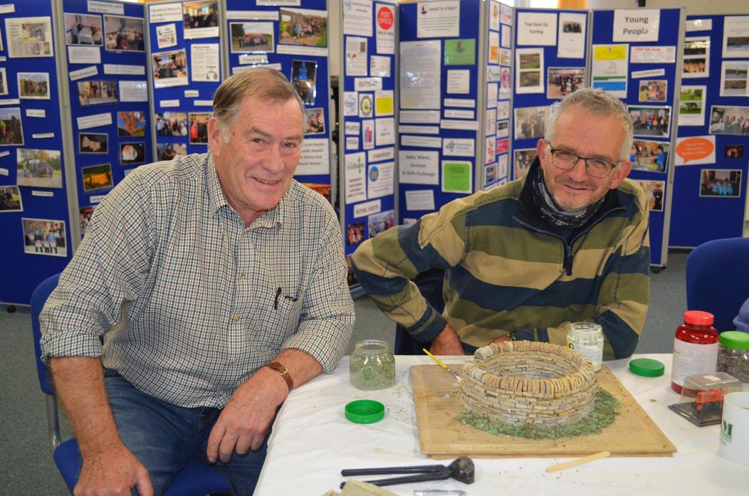 INSPIRING OTHERS: Craftsman Trevor Dixon was on hand to admire the creative talents of Ken Jackson from Langleydale