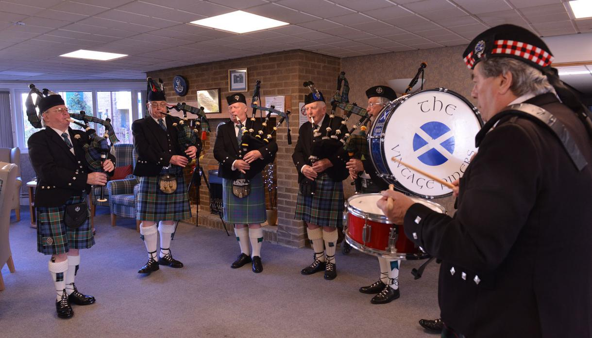 TUNEFUL: THE Vintage Pipes and Drums band performs during the Scottish Day at Bowes Lyons House, in Barnard Castle     TM pic