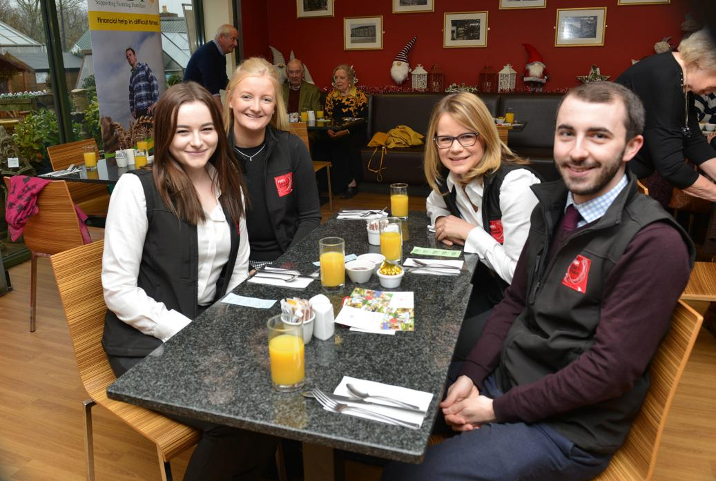 GOOD CAUSE: H&H Land and Estates staff Eve Murray, Hannah Maynard, Helen Forbes and Robert Jauneika supported the first RABI breakfast at Sam Turner's Piercebridge TM pic