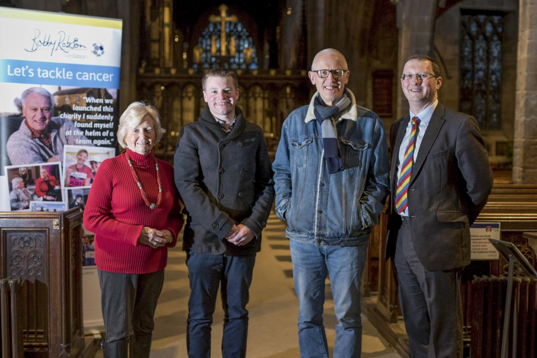 BEATING CANCER: Christmas at the Cathedral event organiser Jonathan Wallis with Lady Elsie Robson, producer Ray Laidlaw and sponsor Michael McGarry
