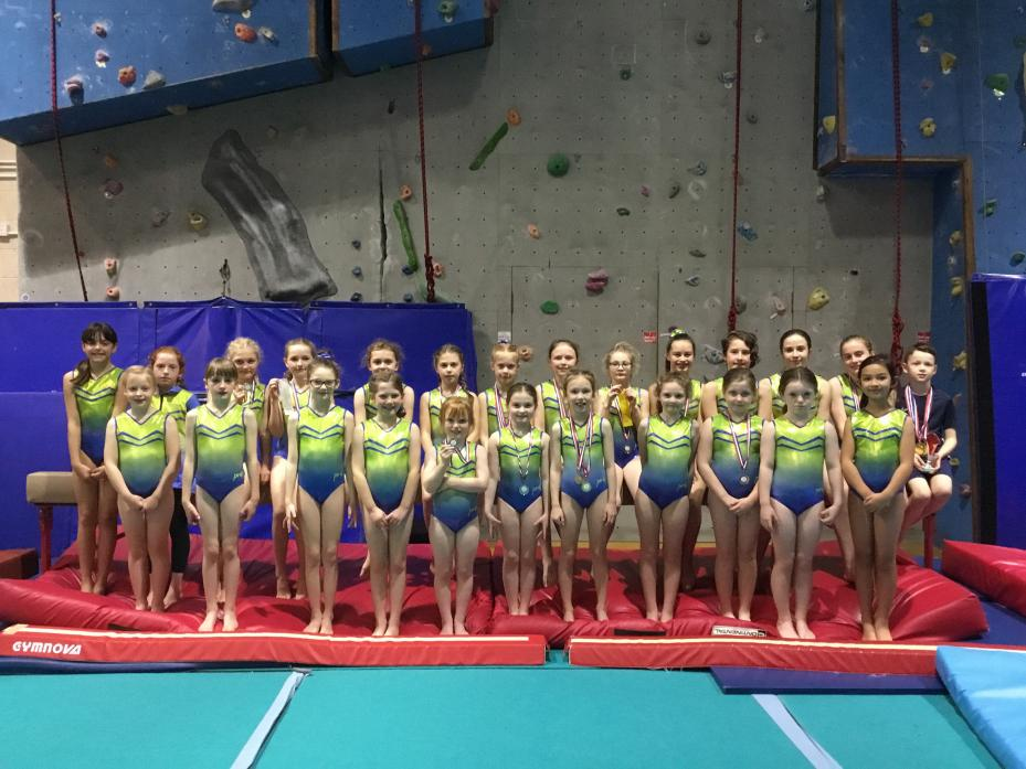 DIDN'T WE DO WELL: The Barnard Castle Gymnastics Club team which brought home a haul of medals from a competition in Hartlepool