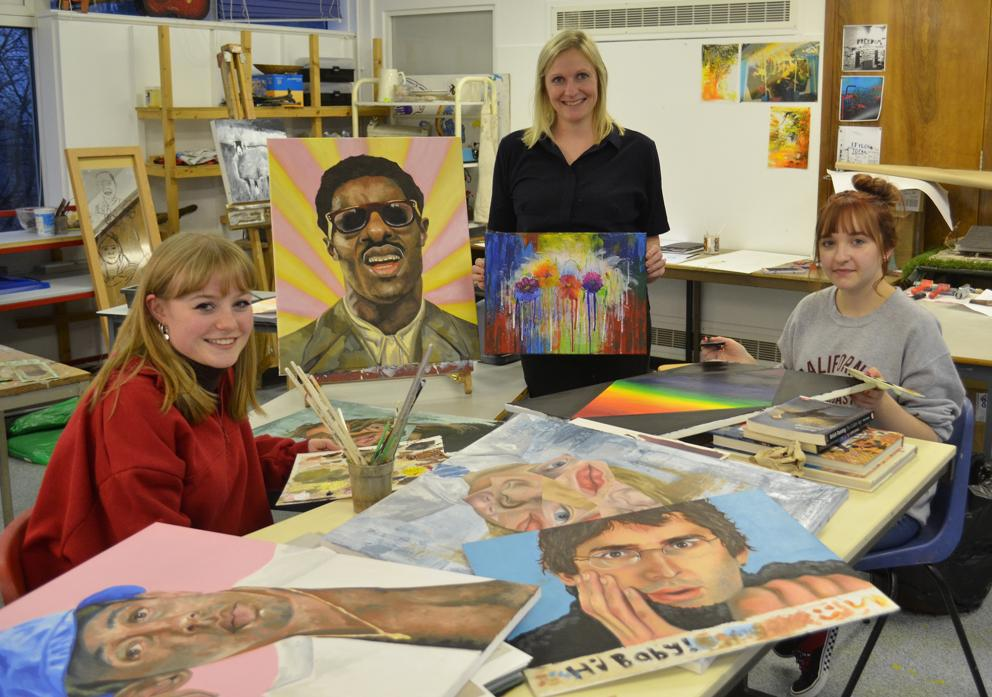 ON SHOW: Teesdale School head of art Nic Bell, centre, with sixth form art students Eleanor Morris, left, and Gaby Hawcroft