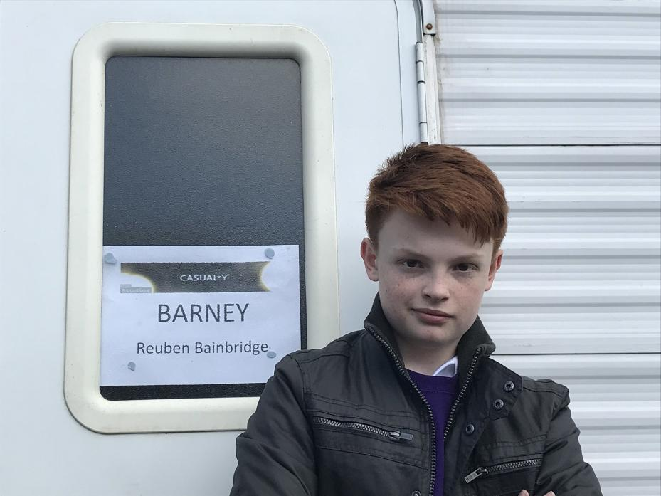 DRAMATIC: Reuben Bainbridge, from Eggleston, on the Casualty set during filming in November