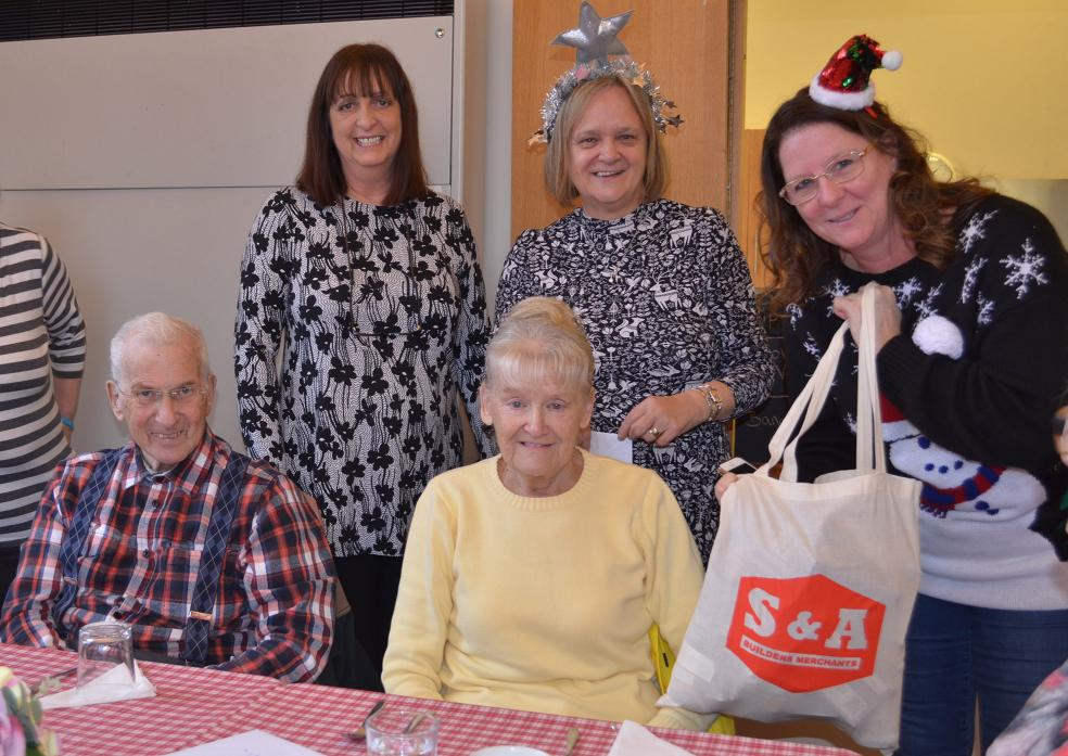 TREATS: Jeffrey and Hazel Lazenby were delighted to receive a goodie bag. They are pictured with Kim West, Alison Thackeray and Dawn Hutchinson