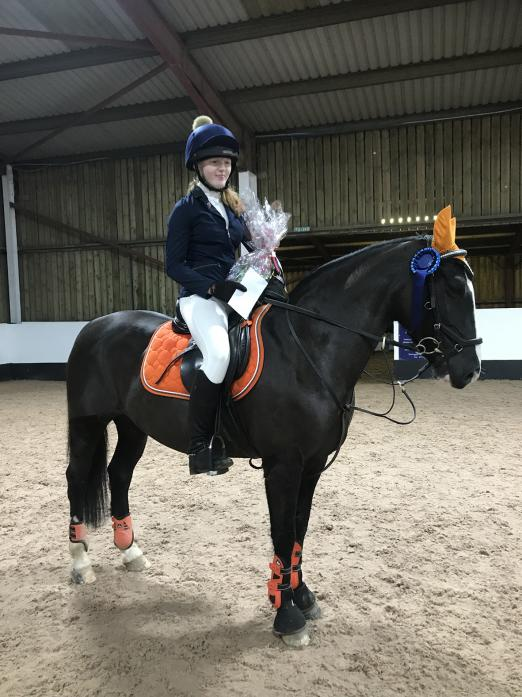 WINNER: Jessica McCarthy with Prada, who won the 90cm junior competition