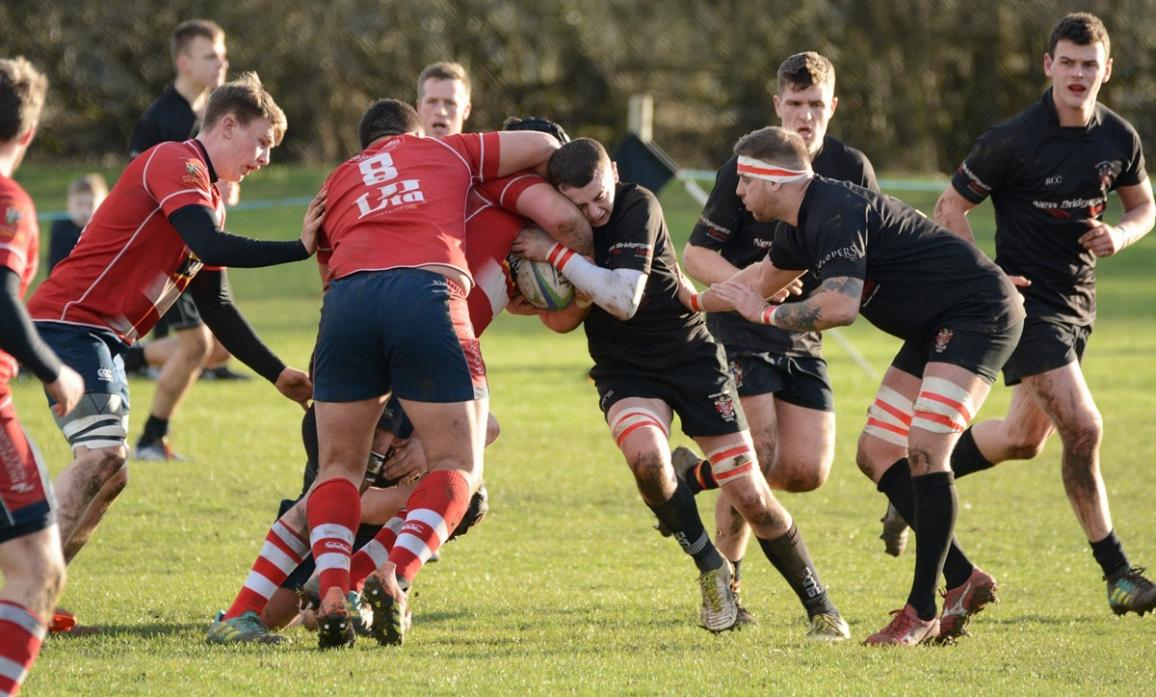 STEALING THE BALL: Stockton were masters at ripping the ball in the tackle during their match against Barney  							                 Pic: Chris Morse