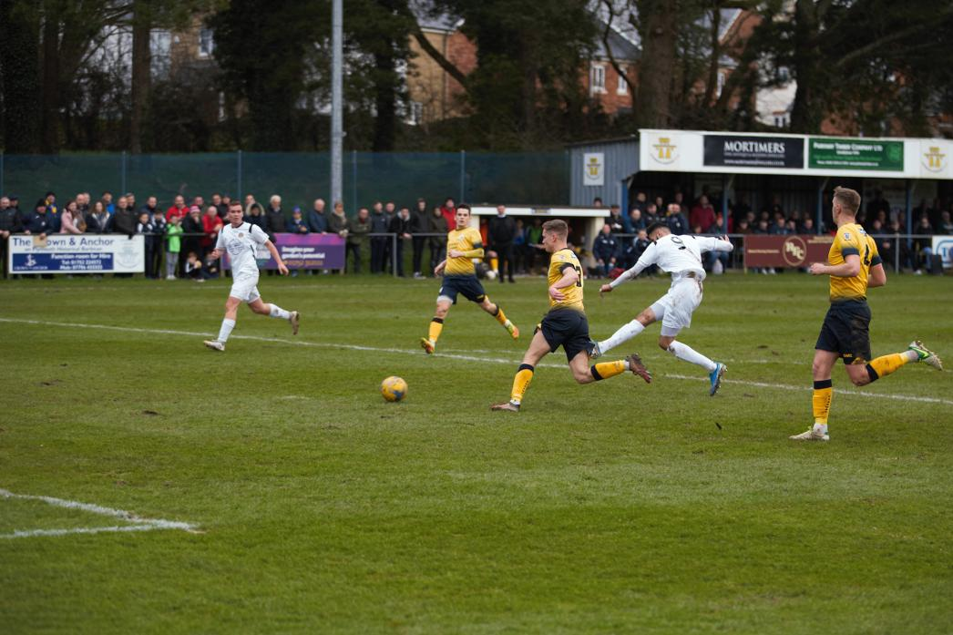 ON TARGET: Striker Amar Purewal fires West into the lead against Plymouth Parkway in the FA Vase tie on Saturday Pic: Andy Mitchell