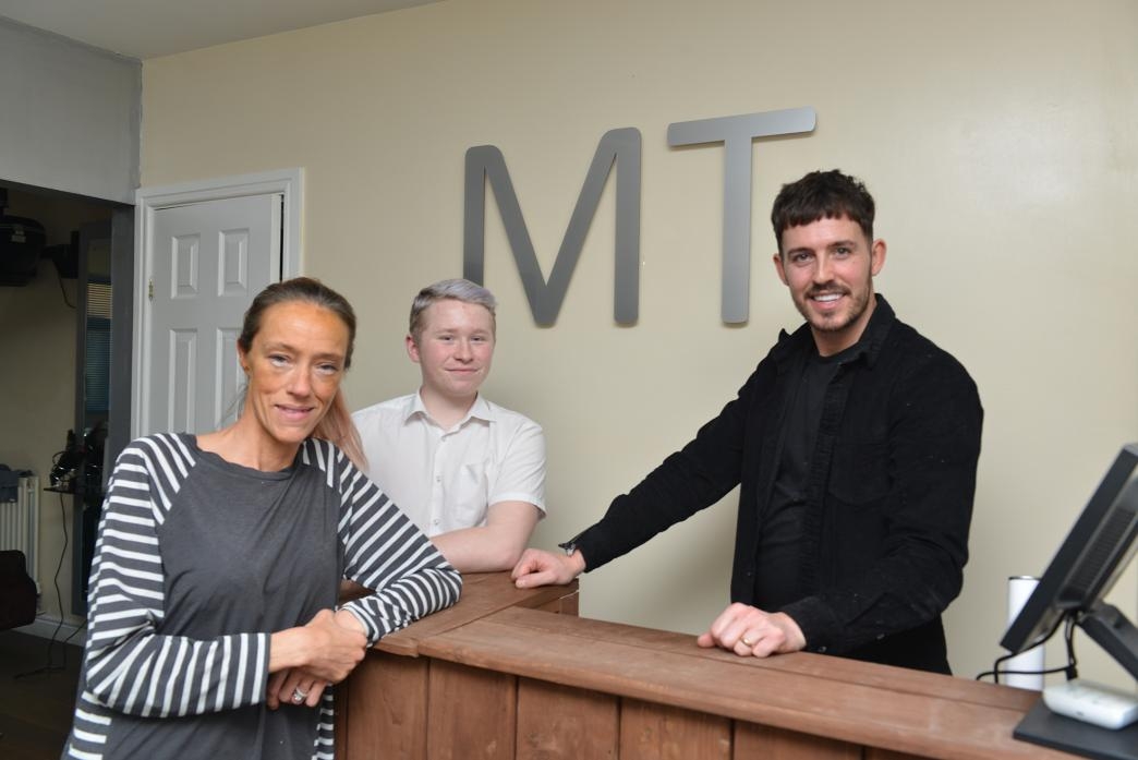 TOP TEAM: New colour degree specialist Sami Goldsborough, level two apprentice, Jack Ballan and owner Michael Teasdale at the MT Salon, in Toft Hill											    TM pic