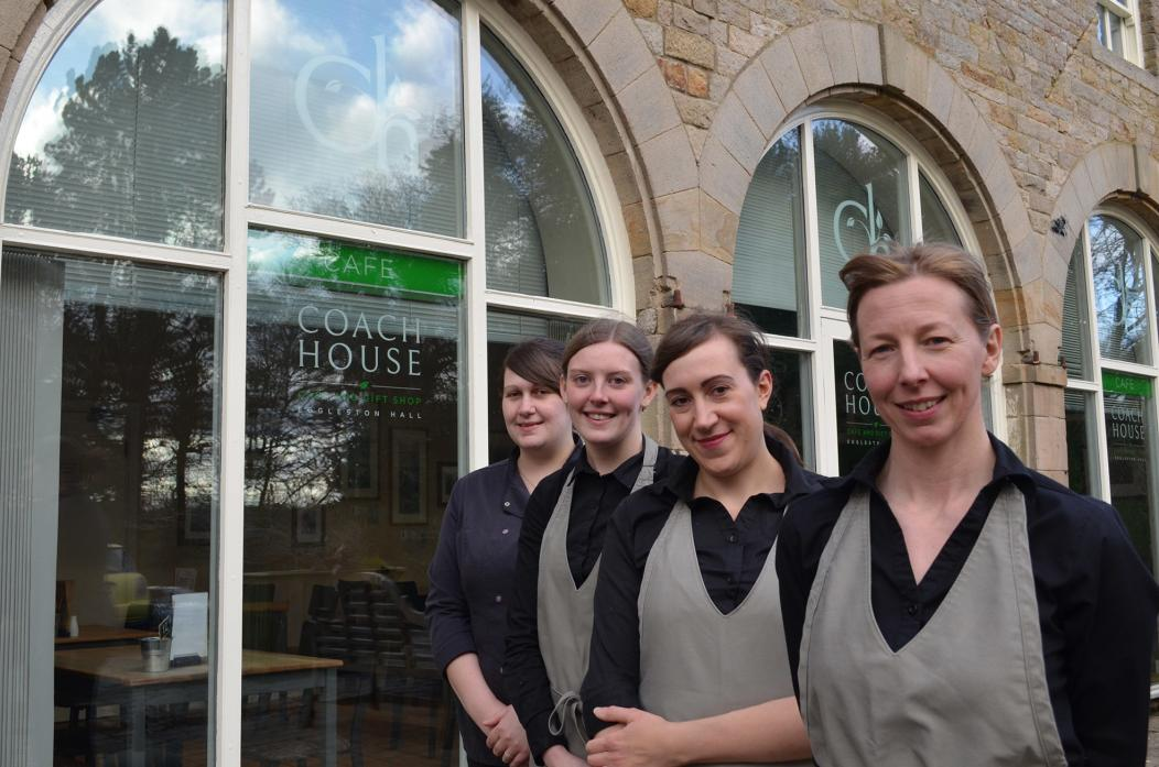 WARM WELCOME: Staff at the newly branded Coach House Cafe and Tearooms at Eggleston Hall, from left, Kaylee Carter, Grace Forster, Rachel Herworth and Clare Moss-Clennell           TM pic