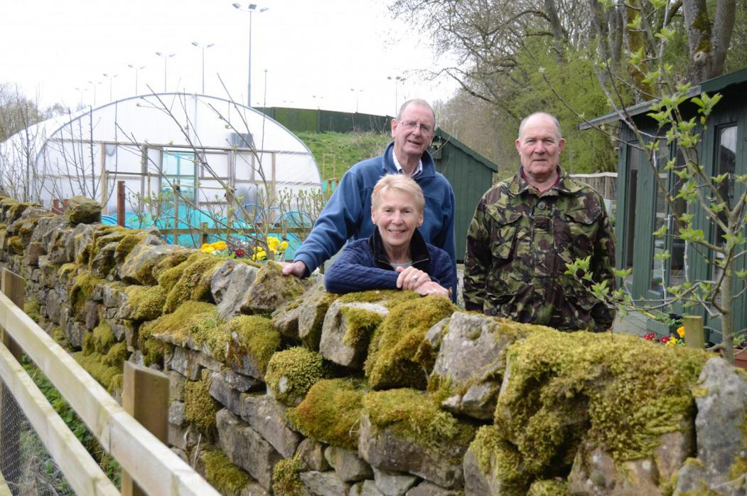 IT'S OVER: Ann and Tony Barmby with Graham Moore at the Veg Out base at The Hub, Barnard Castle									              TM pic