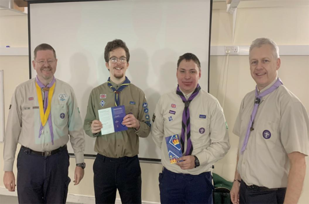 WE DID IT: Queen's Scouts William Rolt and Marc Todd with, left county commissioner David Stokes and assistant county commissioner Scout Network David Holmes