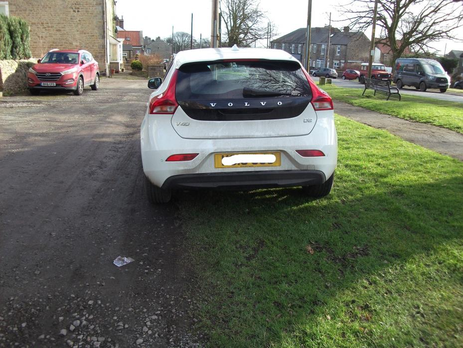 CAUSING DAMAGE: One of the cars recently parked on the village green