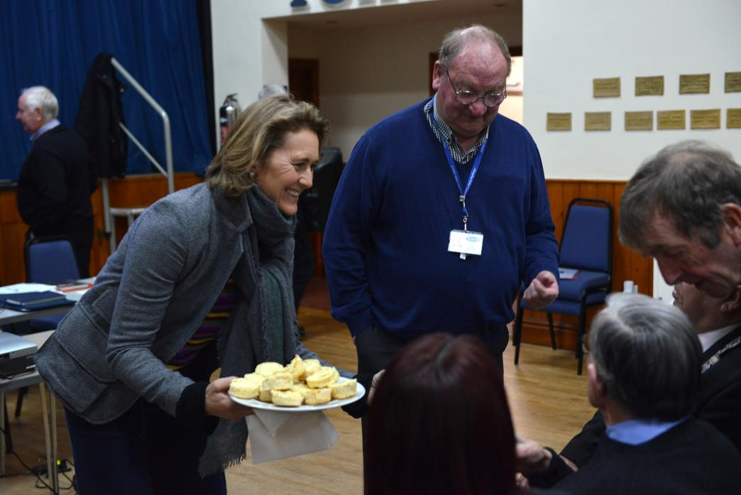AT YOUR SERVICE: Teesdale Day Clubs patron Lady Barnard serves scones to members after the annual meeting TM pic