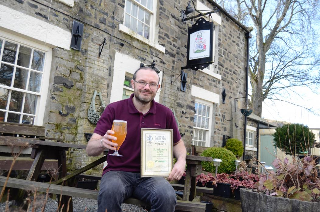 DRINK UP: Anthony Goldstraw, landlord of the Strathmore Arms, Holwick, which has won its third straight cider award from Camra