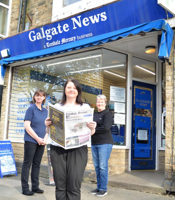 HAPPY TO HELP: Debbie Welsh, manager of Galgate News with colleagues Gillian Clark, left, and Stephanie George