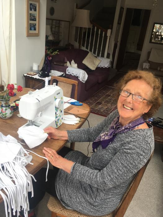 HOME FRONT: Kathlyn Thompson producing masks on her new sewing machine