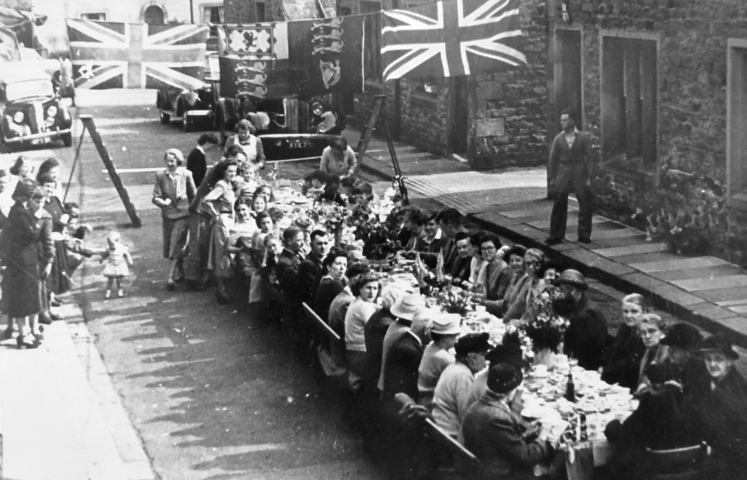 LETS PARTY: One of the unofficial street parties that were organised in Barnard Castle to mark the end of the Second World War. A more formal – and sombre – event was held in 1946