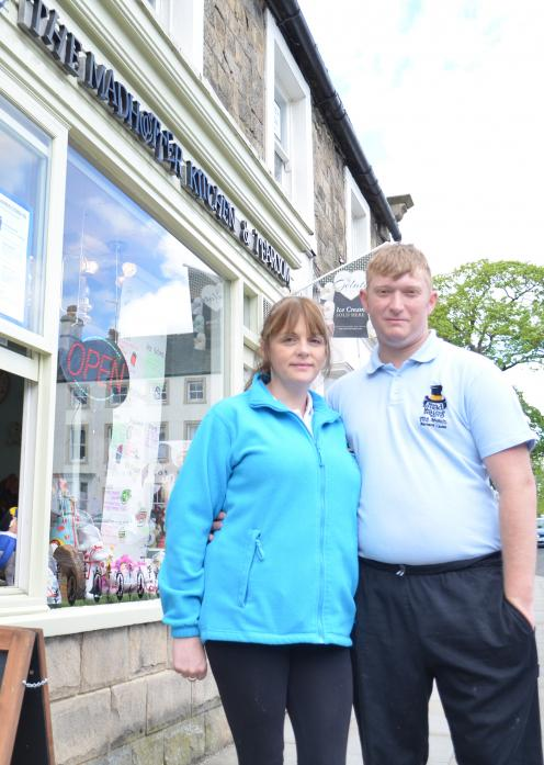 AT YOUR SERVICE: Above, Lynn Flanagan and Adam Anderson, of The Madhatter Kitchen and Tea Room