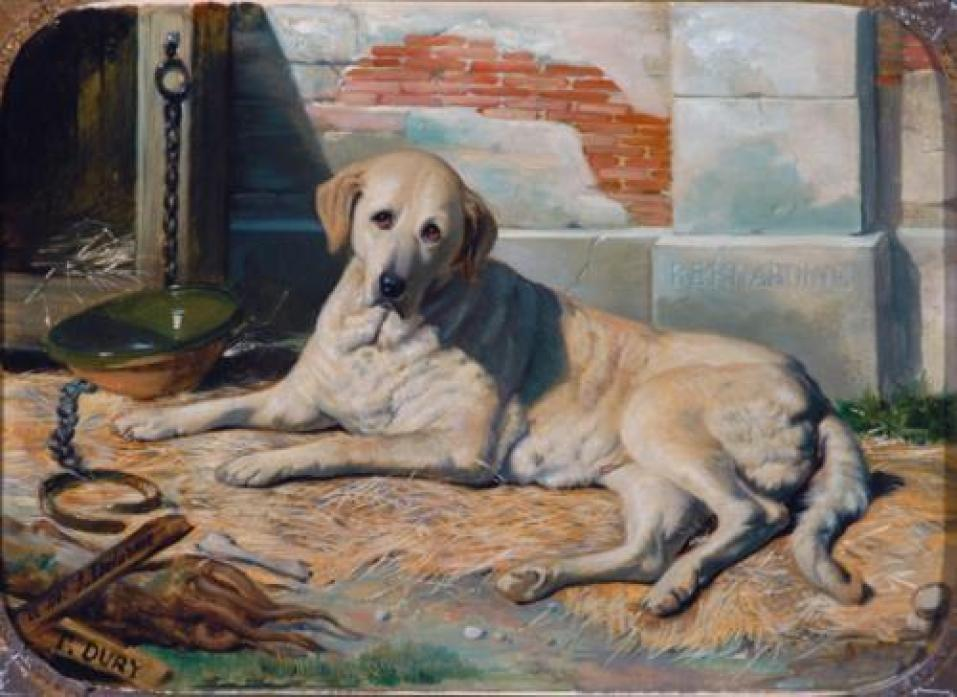PET PORTRAIT: Bernadine portrait by Antoine Dury. She was one of the first ever yellow Labradors