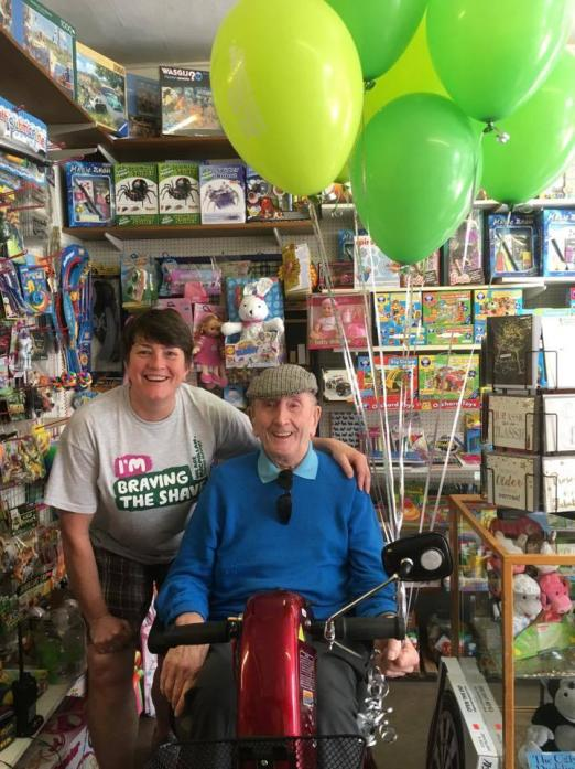 POPULAR: Dennis Connelly with daughter Pauline at the family toy shop