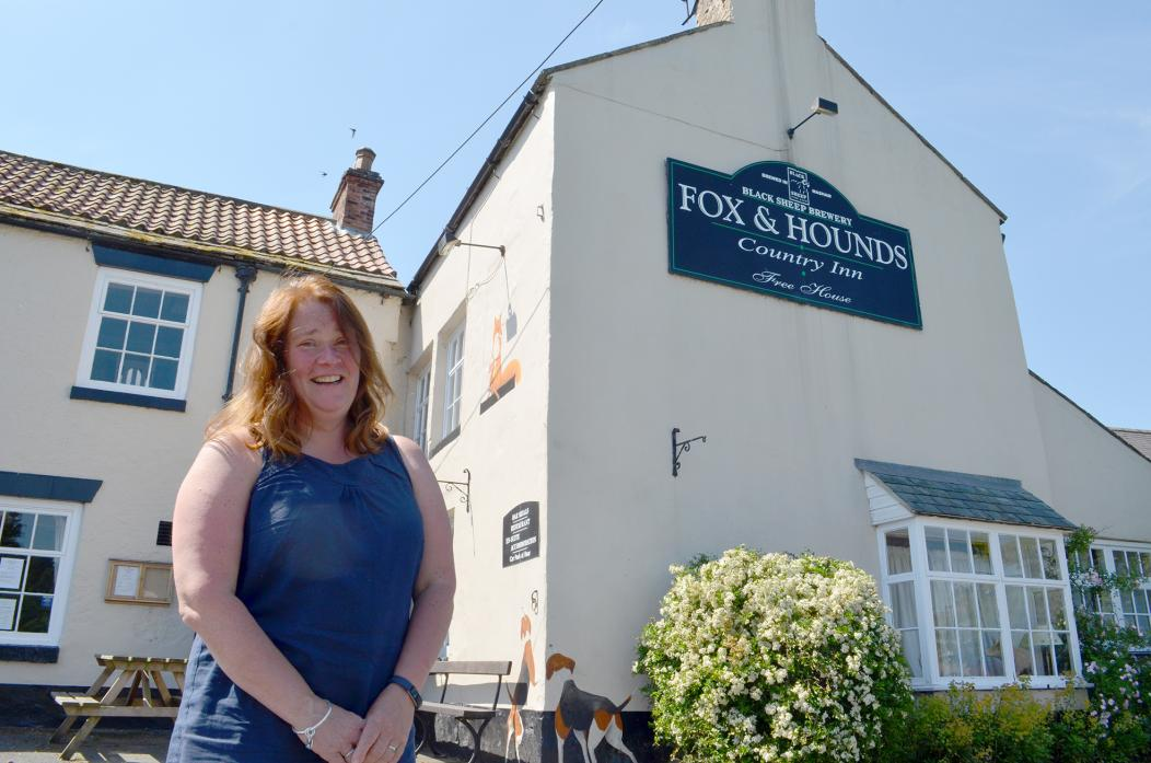 "GLAD TO BE BACK: Nichola Swinburn at the Fox and Hounds, in Cotherstone, which she describes as ""the village's pub"""