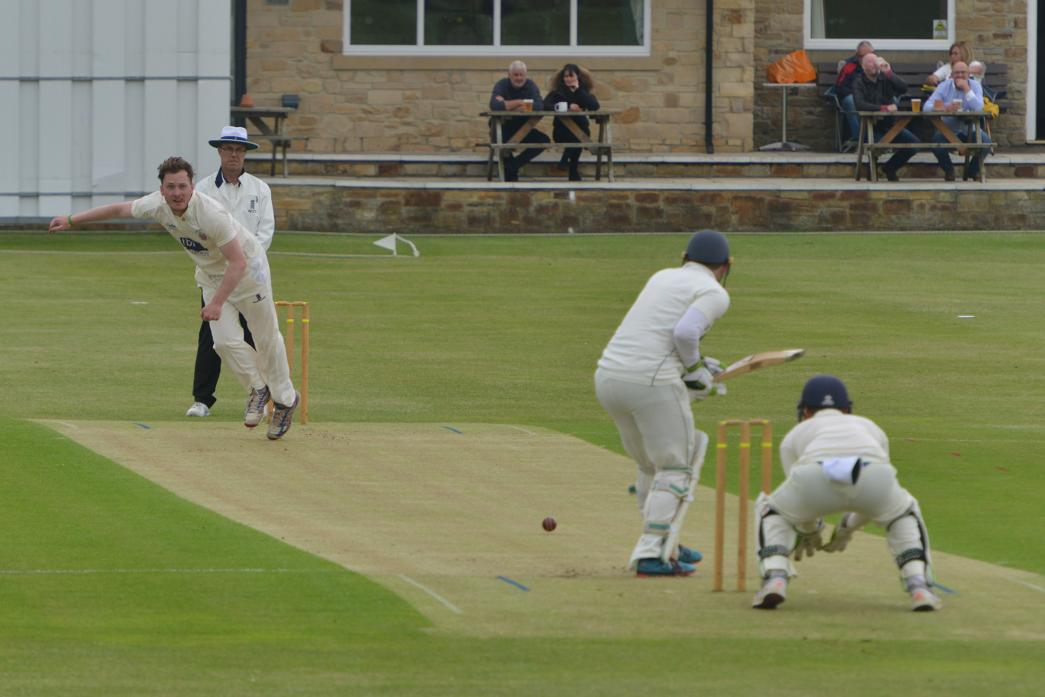 BOWLED OVER: Tom Brooks took three wickets for 36 runs during Barney II's victory over Newton Aycliffe at Vere Road. 						             TM pic