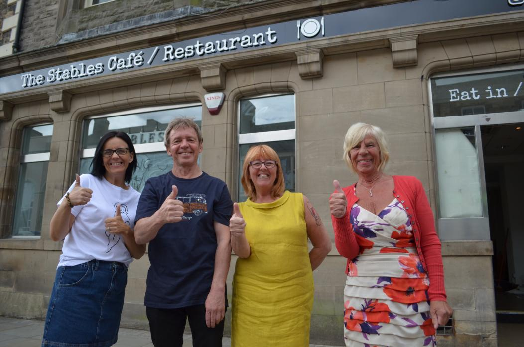 GREAT EXPECTATIONS: Stables Café has found a new home and owners Stephen and Sheena Aldred, daughter Nichola Stephenson and founder Phyllis Stoddart, can't wait to welcome customers back  					TM pic