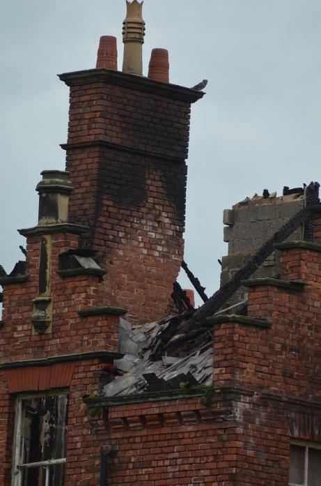 RAVAGED: Part of St Peter's, which was badly damaged by another fire at the derelict former school