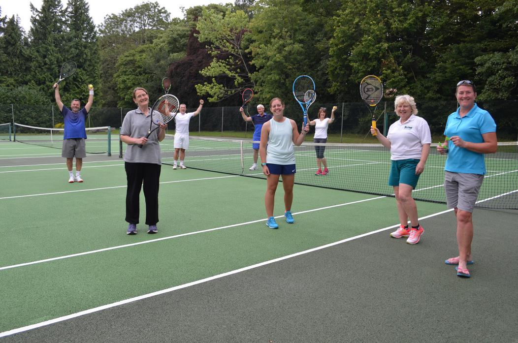 ANYONE FOR TENNIS?  Barnard Castle Tennis Club members delighted to be back on court after five months. Left to right: Gordon Duffy-McGhie, Karen Taylor, Stephen Hughes, Don Everett, Lucy Brenkeley, Christine Earl, Clare Trevett and Pauline Connelly