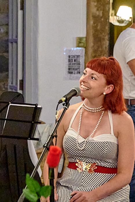 MUSIC MAKES THINGS BETTER: Rosie Bradford singing at The Old Well