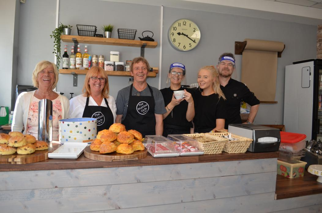 FAMILY AFFAIR: From left, Phyllis Stoddart who started Stables Cafe with daughter Sheena Aldred; Sheena's husband Stephen who now runs the business with their daughter Nicola Stephenson and her daughter Holly with her husband Mark